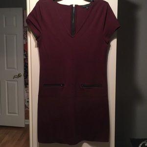 Sanctuary burgundy dress with black zippers